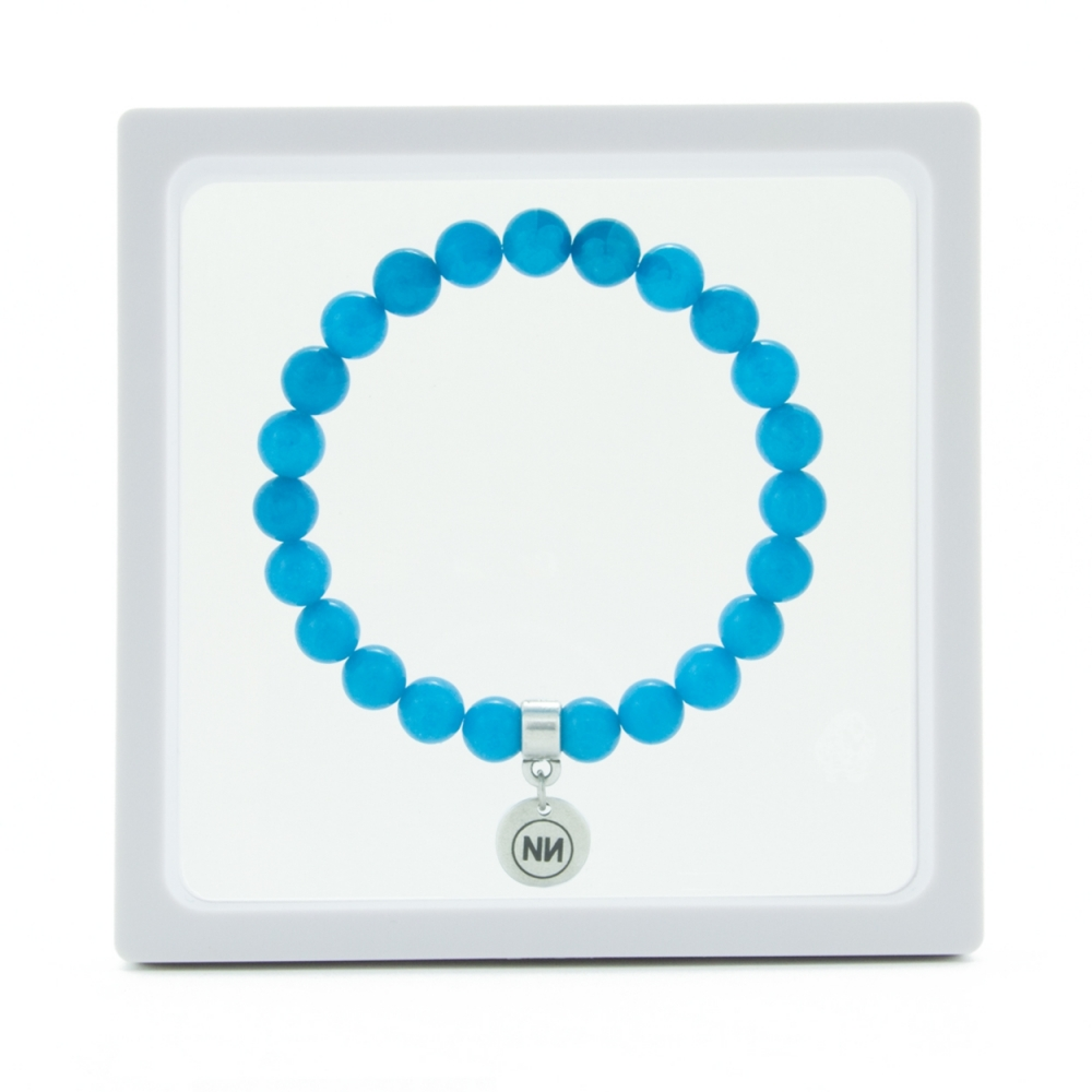 Nature of light blue marble bracelet with pendant