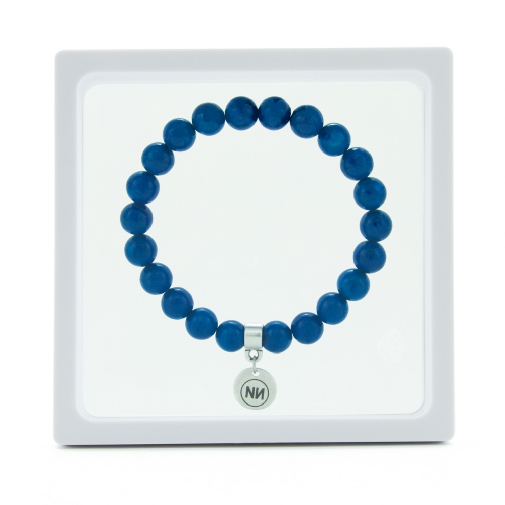 Nature of blue marble bracelet with pendant