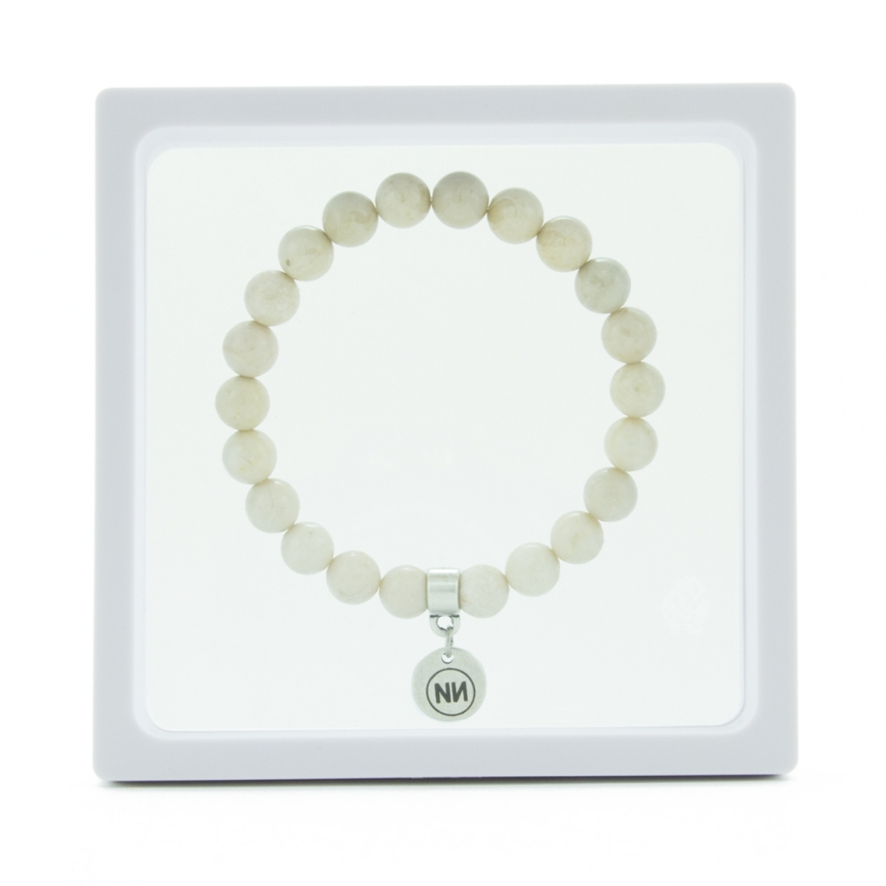Nature of cream marble bracelet with pendant