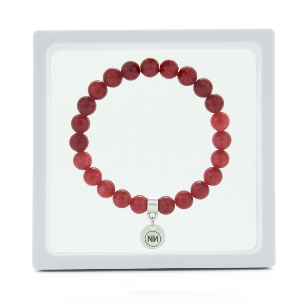 Nature of raspberry marble bracelet with pendant