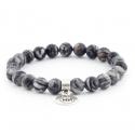 Bracelet noir filé avec pendentif