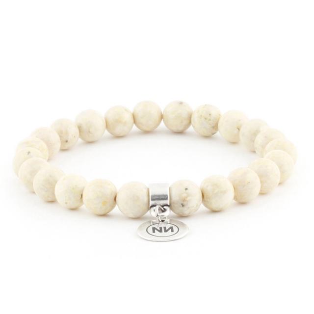 Bracelet nature marbre sable avec pendentif