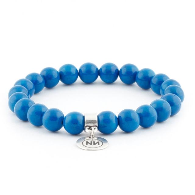 Bracelet nature marbre blue avec pendentif