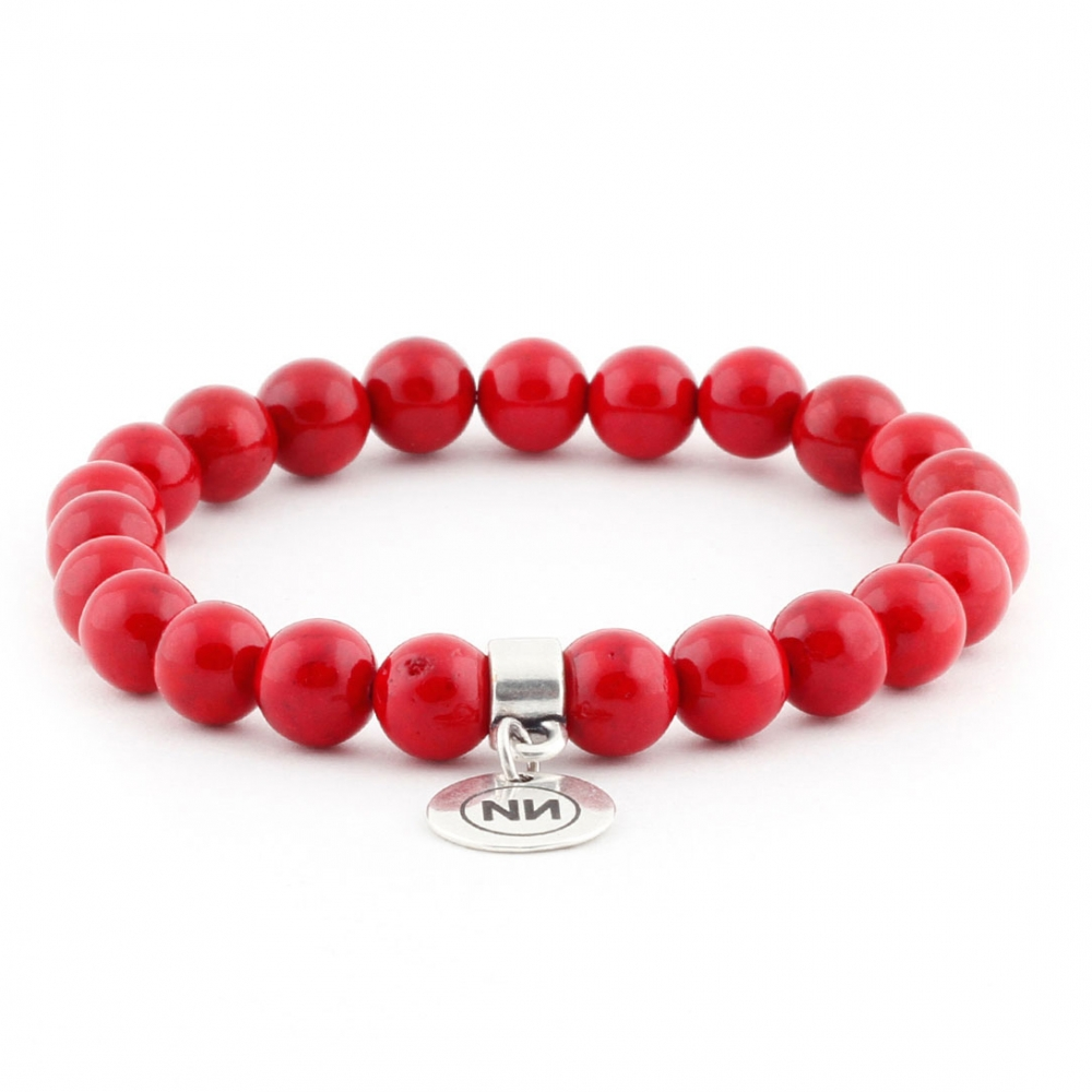 Nature of coral marble bracelet with pendant