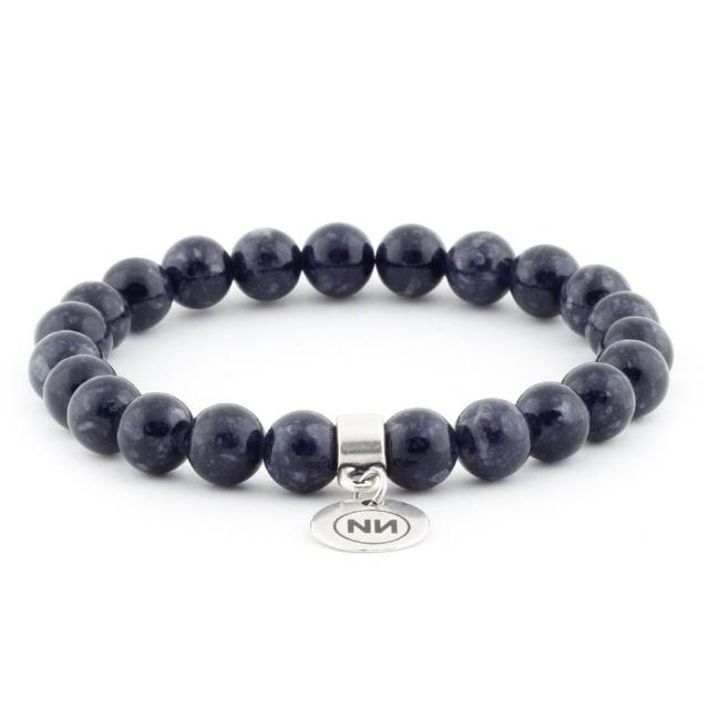 Bracelet nature marbre gris avec pendentif