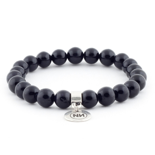 Armband der Natur aus schwarzem marmor met Anhänger