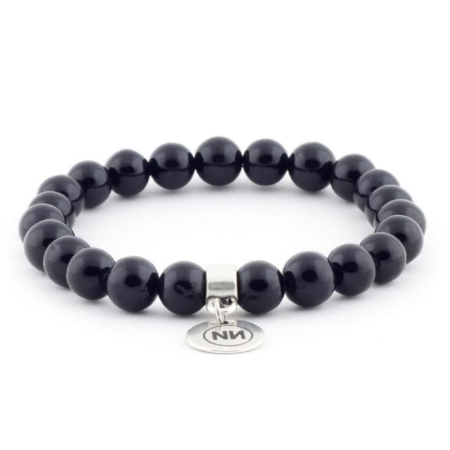 Bracelet nature marbre noir avec pendentif