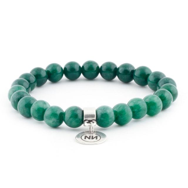 Bracelet nature marbre vert avec pendentif